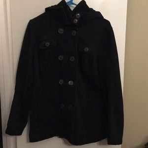 Merona Black Hooded Pea Coat Jacket